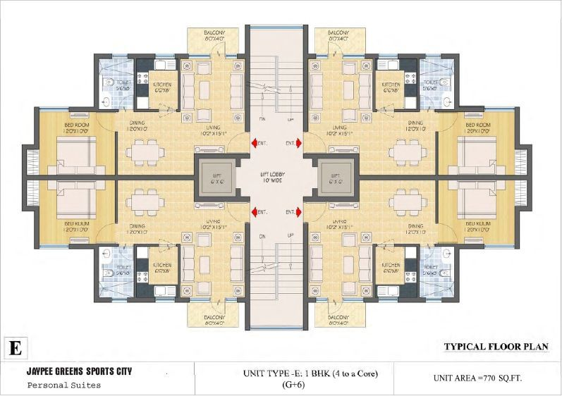 typical floor plan type e ground floor plan type e